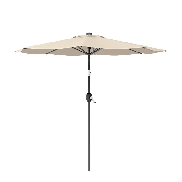 8' Beige Round Patio Tilt Umbrella