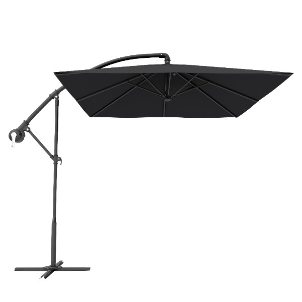 Black Square Patio Offset Cantilever Umbrella