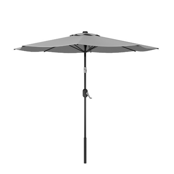 8' Grey Round Patio Tilt Umbrella