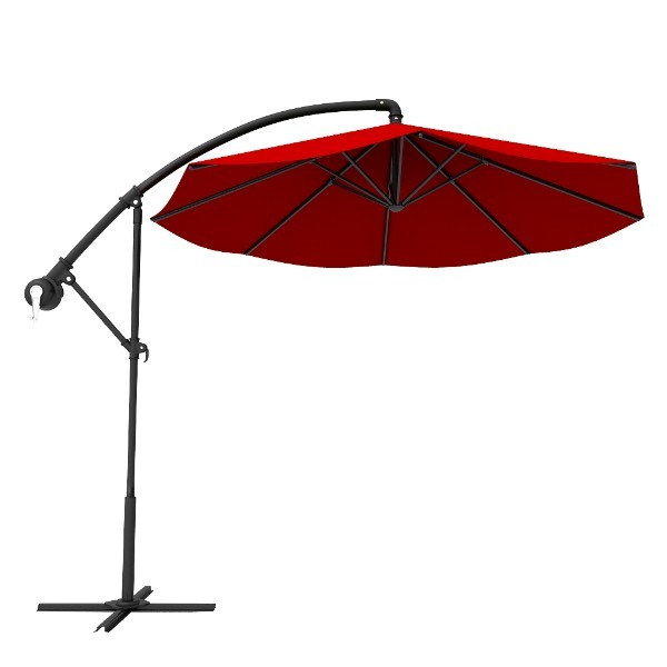 Red Round Outdoor Patio Offset Cantilever Umbrellas Patiosunumbrellas
