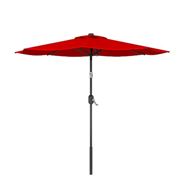 8' Red Round Patio Tilt Umbrella