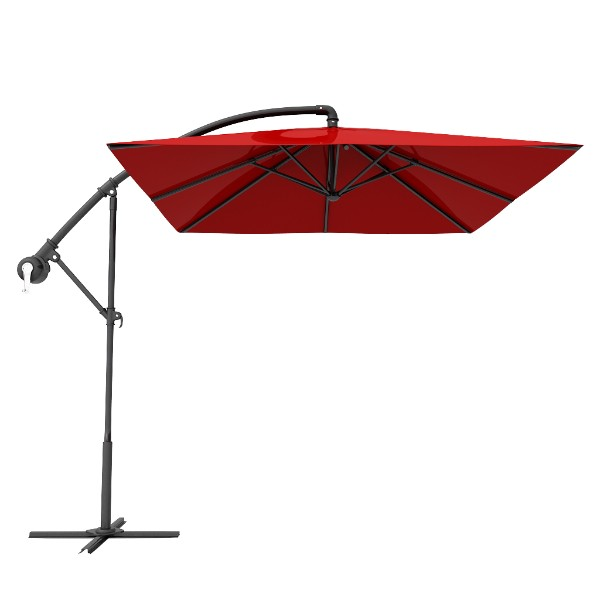 Red Square Patio Offset Cantilever Umbrella
