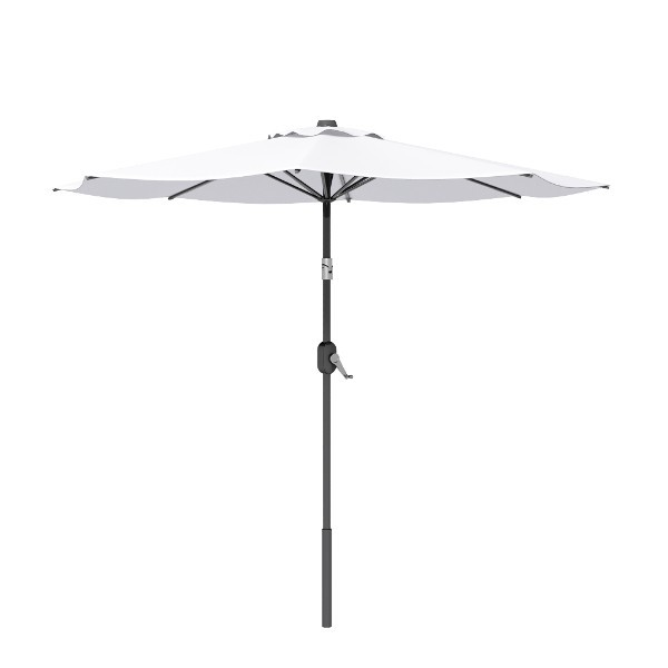 8' White Round Patio Tilt Umbrella